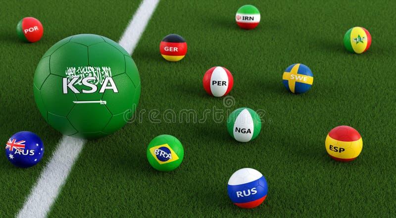 Balón de fútbol grande en colores nacionales de Arabia Saudita rodeado por balones de fútbol más pequeños en otros colores nacion ilustración del vector