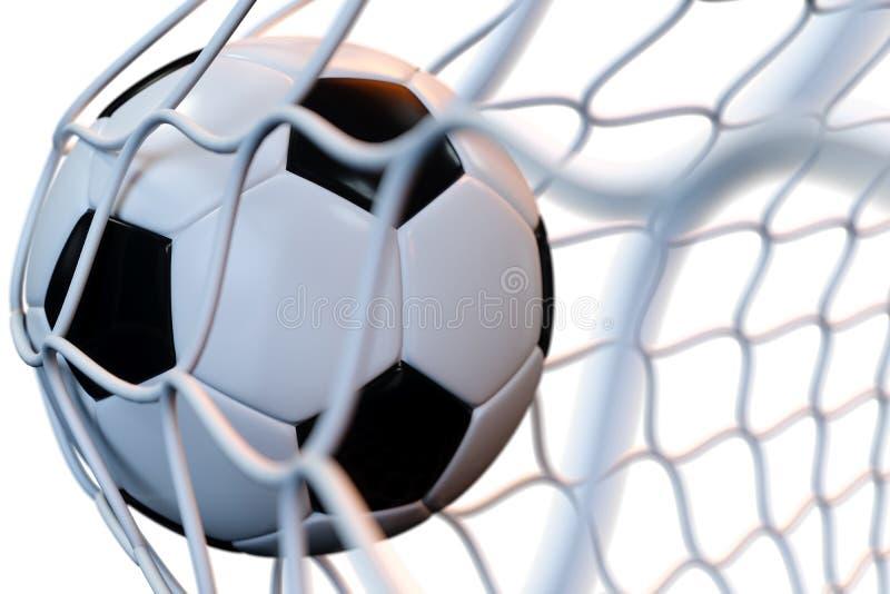 balón de fútbol de la representación 3d en meta en el movimiento Balón de fútbol en la red en el movimiento aislada en el fondo b ilustración del vector