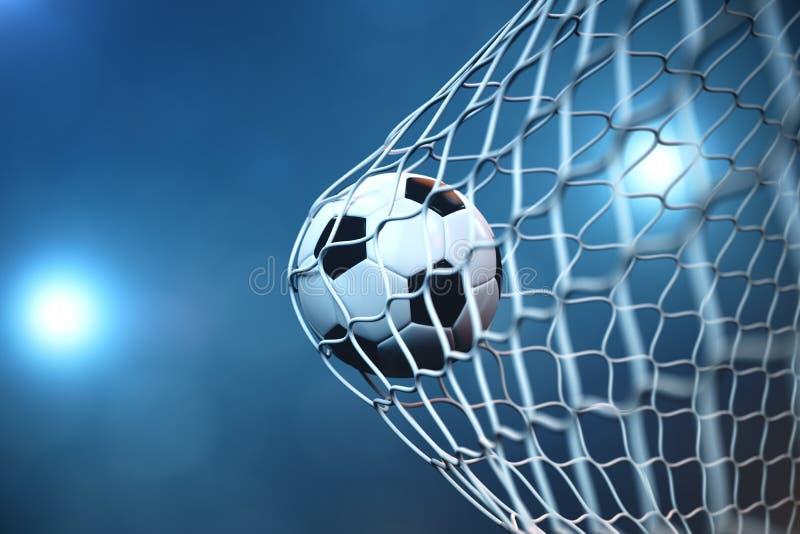 balón de fútbol de la representación 3d en meta Balón de fútbol en red con el fondo ligero del proyector o del estadio, concepto  stock de ilustración