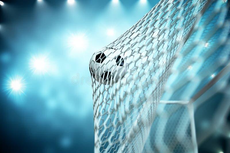 balón de fútbol de la representación 3d en meta Balón de fútbol en red con el fondo ligero del proyector y del estadio, concepto  stock de ilustración