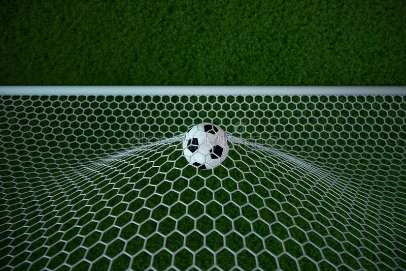 balón de fútbol de la representación 3d en meta Balón de fútbol en red con el fondo ligero del proyector y del estadio, concepto  ilustración del vector