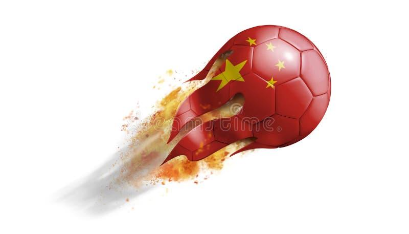 Balón de fútbol llameante que vuela con la bandera de China ilustración del vector