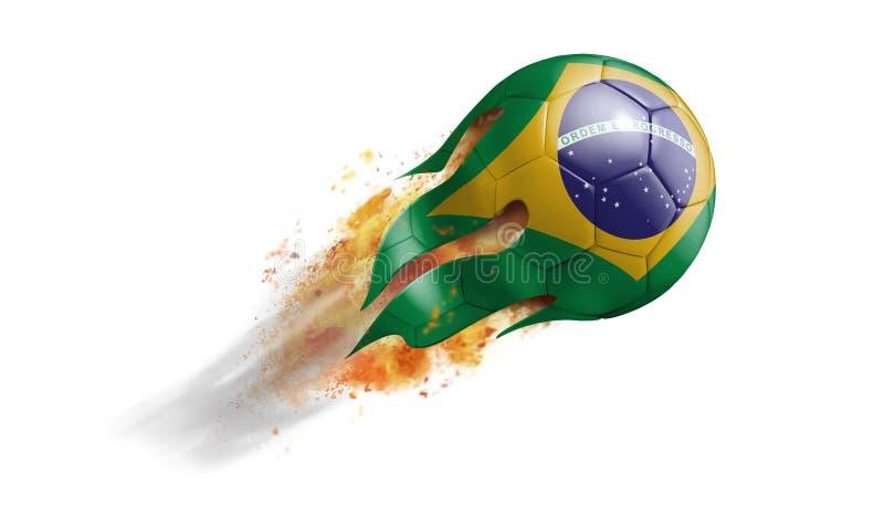 Balón de fútbol llameante que vuela con la bandera del Brasil libre illustration