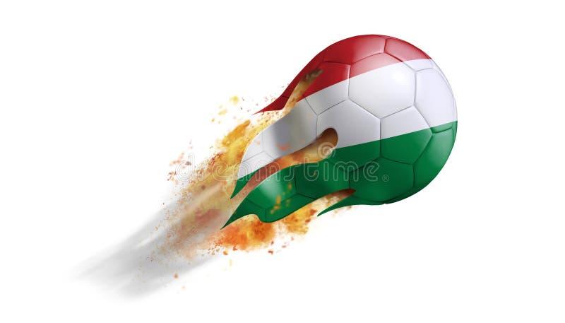 Balón de fútbol llameante que vuela con la bandera de Hungría stock de ilustración