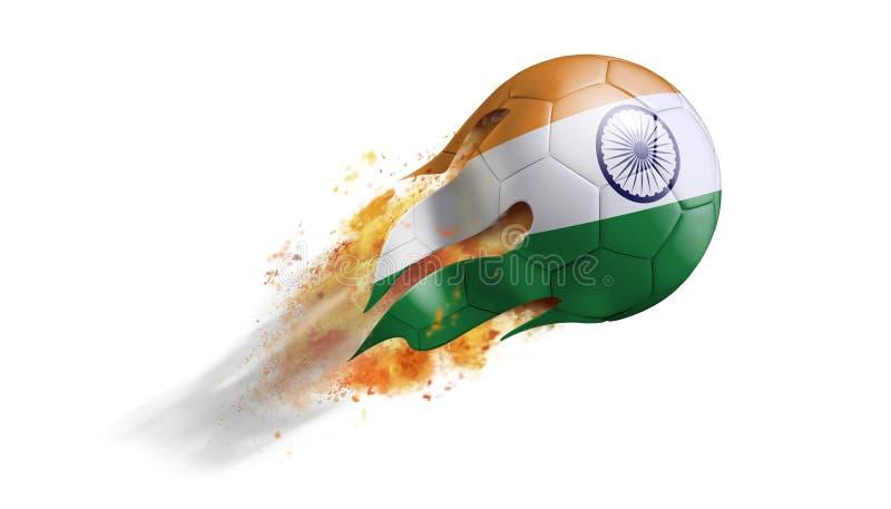 Balón de fútbol llameante que vuela con la bandera de la India libre illustration