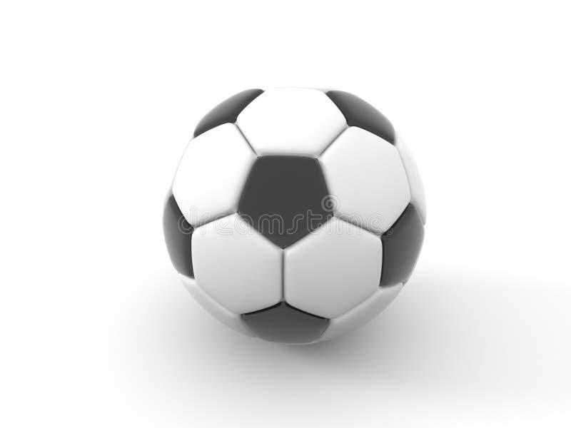 Balón de fútbol Objeto aislado en el fondo blanco 3d rinden ilustración del vector