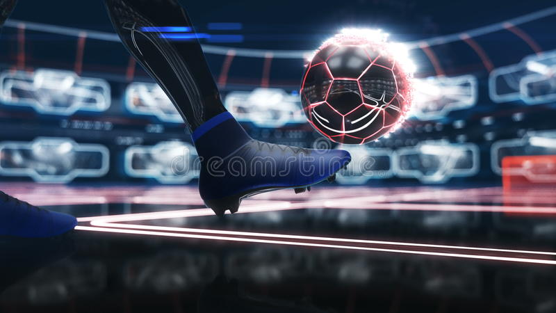 Balón de fútbol que flota en espacio a la meta con el ejemplo de neón del efecto de tiro 3d libre illustration