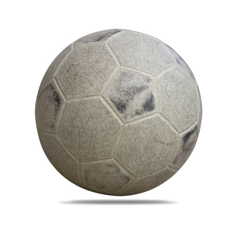 Balón de fútbol sucio aislado en el fondo blanco fotos de archivo