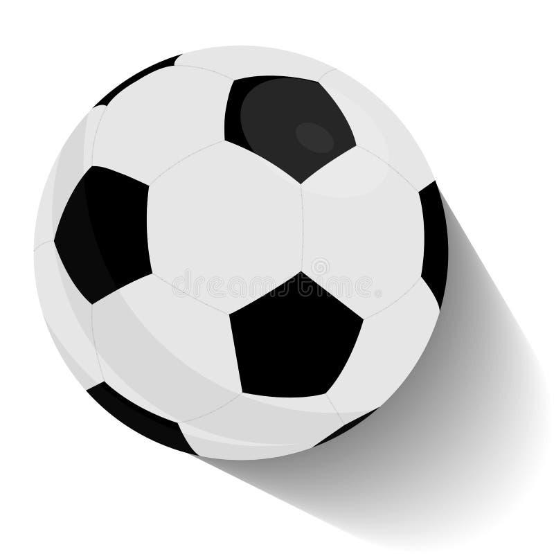 Balón de fútbol, torneo del fútbol Vuelo del balón del fútbol o de fútbol con el ejemplo del vector de los rastros del movimiento ilustración del vector