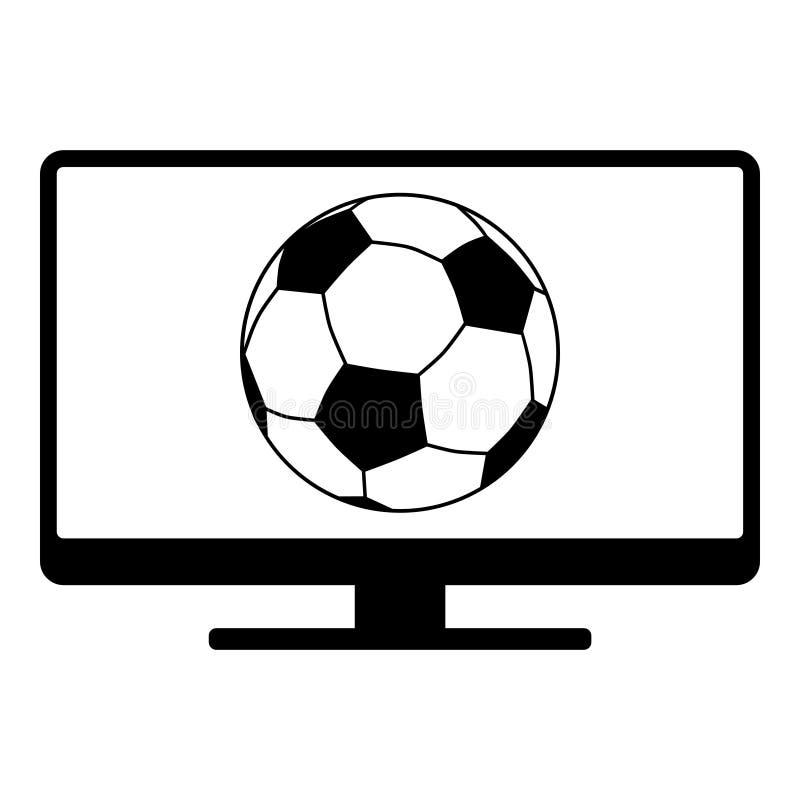Balón de fútbol y pantalla stock de ilustración