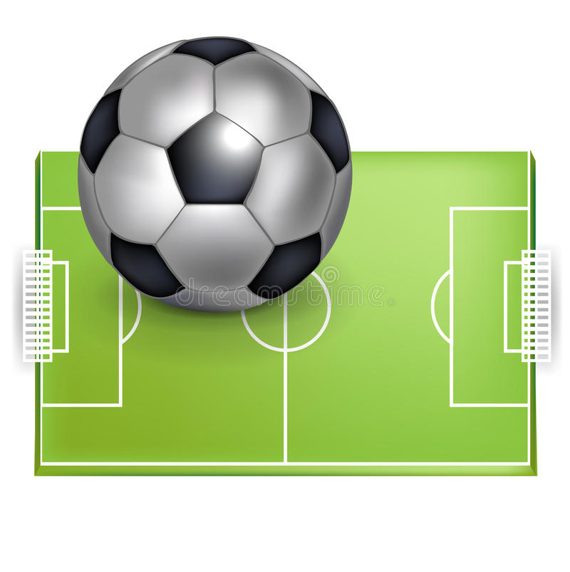 Balón del campo de fútbol y del balompié/de fútbol ilustración del vector