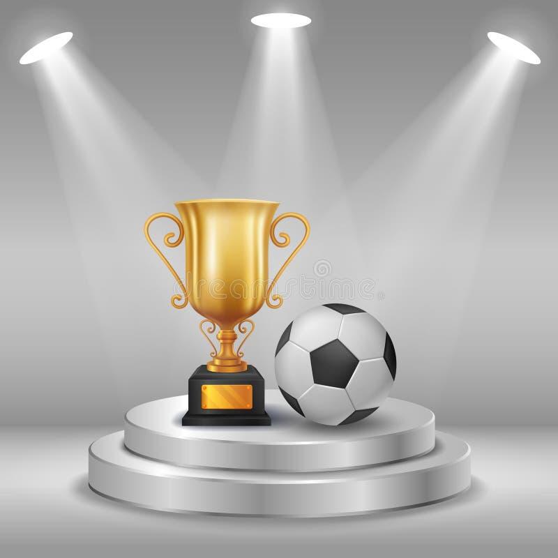 Balón realista del trofeo y de fútbol con el fondo del ganador Primer lugar de la competencia Podio con los proyectores stock de ilustración