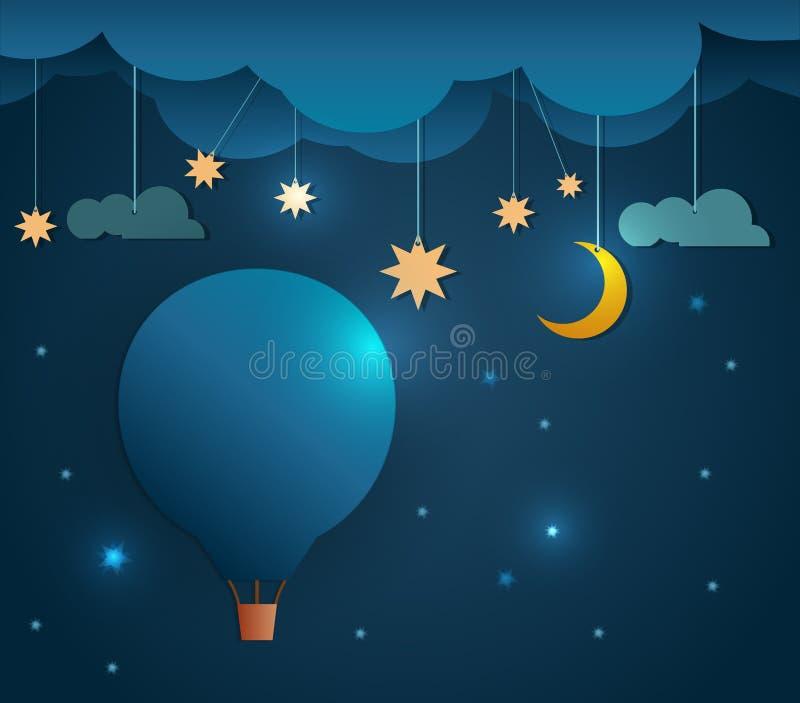 Balón y luna corte-calientes de papel abstractos de aire con la estrella-nube y el cielo en la noche Espacio en blanco para su di libre illustration