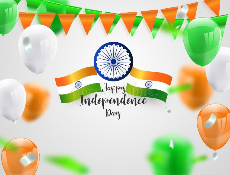 Balões alaranjados verdes, gráficos da Índia do Dia da Independência do projeto de conceito dos confetes Fundo do cumprimento Ill ilustração do vetor
