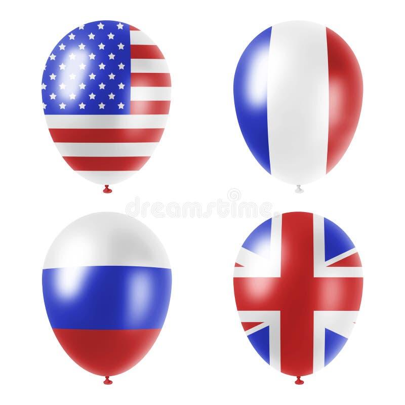 Balões americanos, britânicos, do francês e do russo ajustados ilustração royalty free