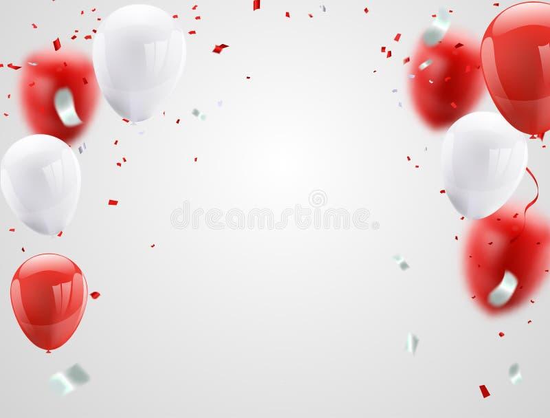 Balões brancos vermelhos, fundo do cumprimento de August Happy Independence Day do projeto de conceito dos confetes Ilustração do ilustração do vetor