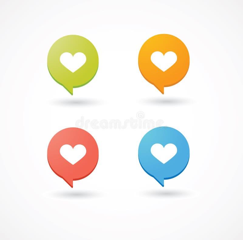 Balões cômicos coloridos com ícone do coração ilustração stock