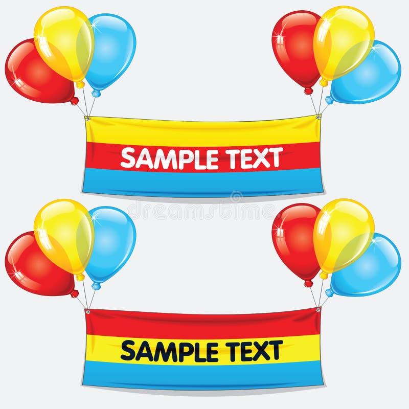 Balões coloridos com bandeira do texto Vetor ilustração stock