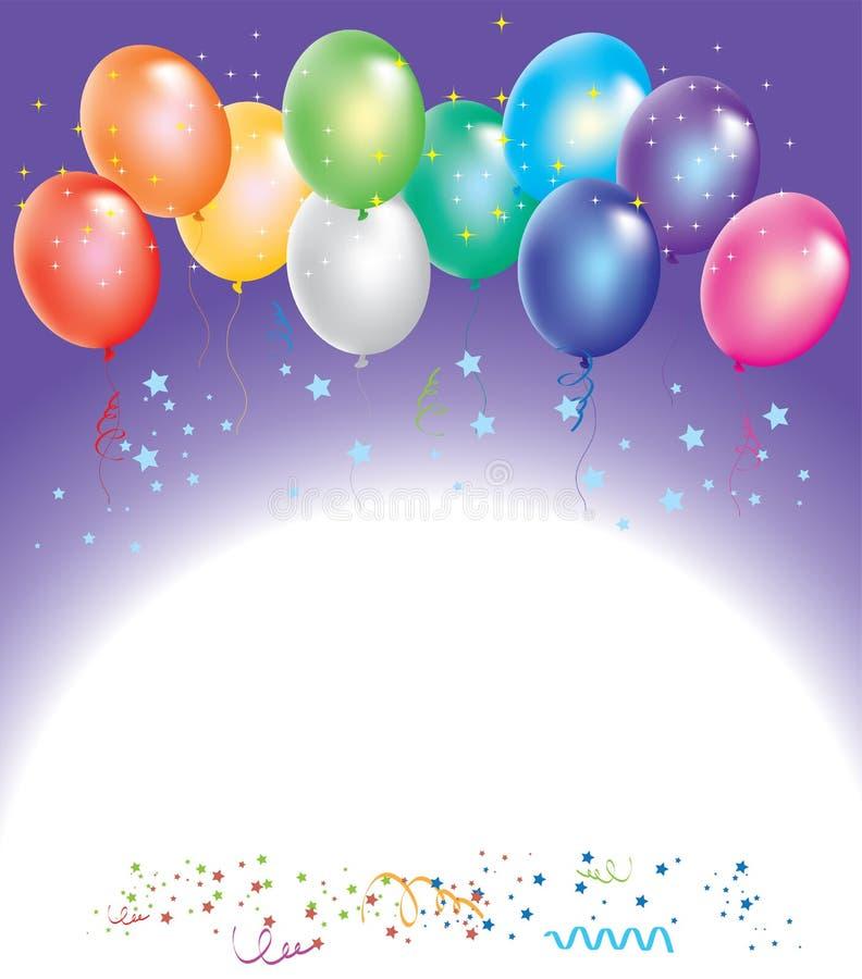 Balões coloridos com confetti ilustração royalty free