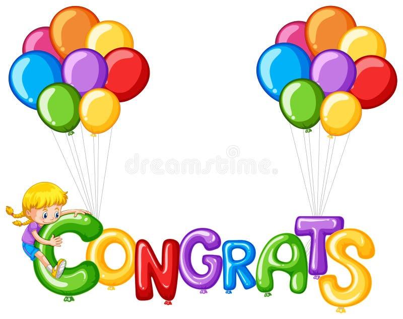 Balões coloridos com congrats da palavra ilustração royalty free