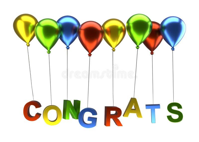 Balões coloridos com congrats ilustração stock