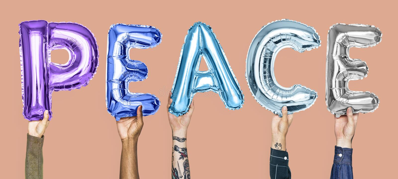 Balões coloridos do alfabeto que formam a paz da palavra ilustração royalty free