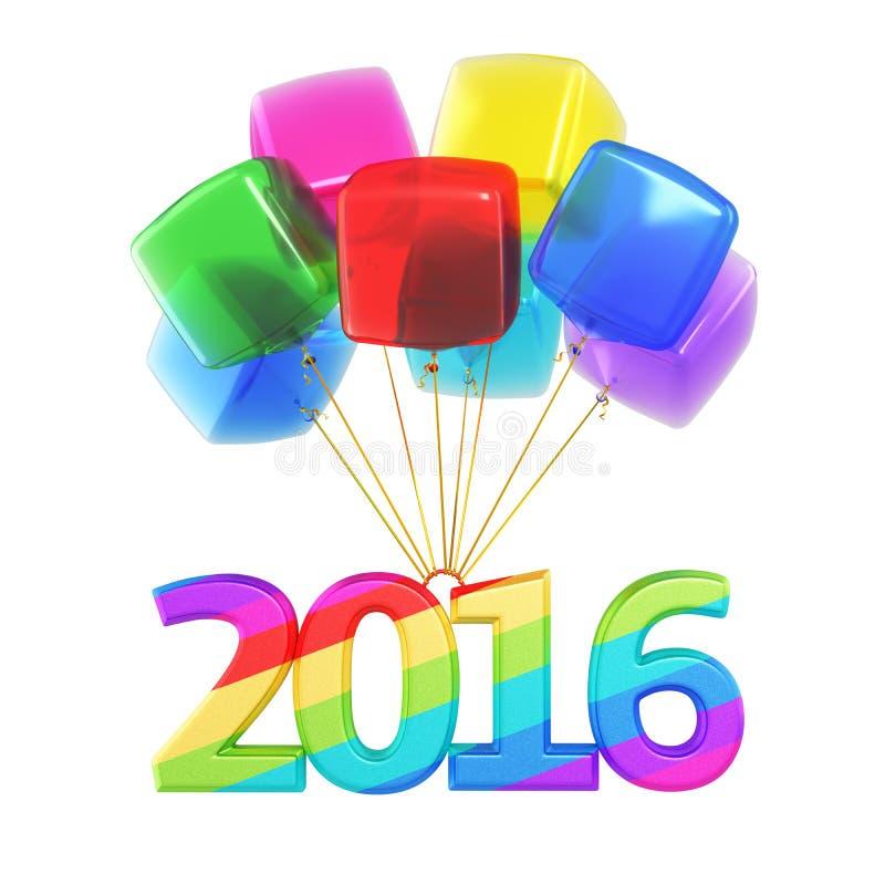 Balões coloridos do ano novo 2016 ilustração royalty free