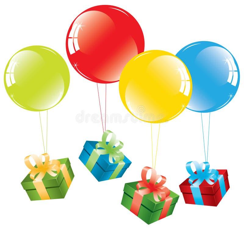 Balões coloridos e uma caixa de presente ilustração royalty free