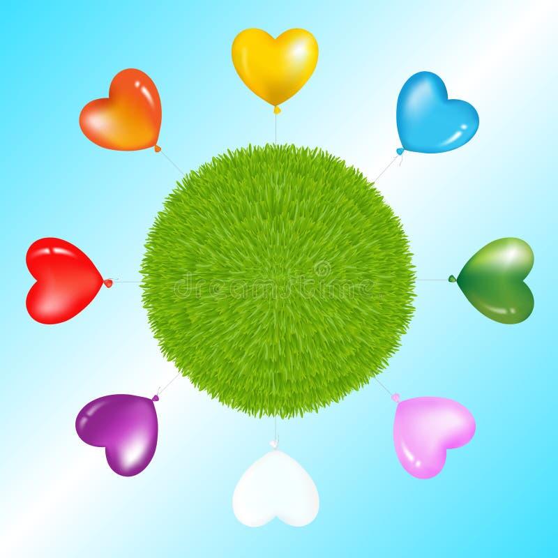 Balões coloridos em torno da esfera da grama. Vetor ilustração do vetor