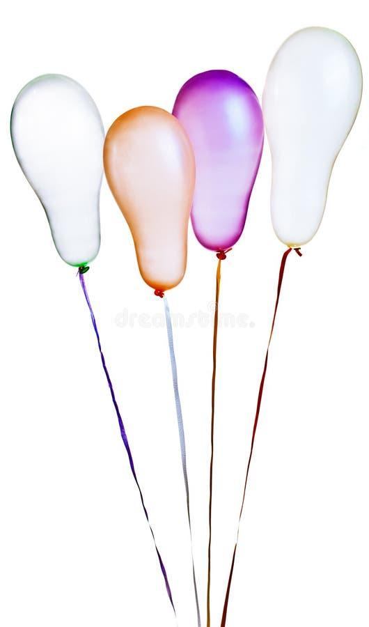 Balões coloridos isolados no branco imagem de stock