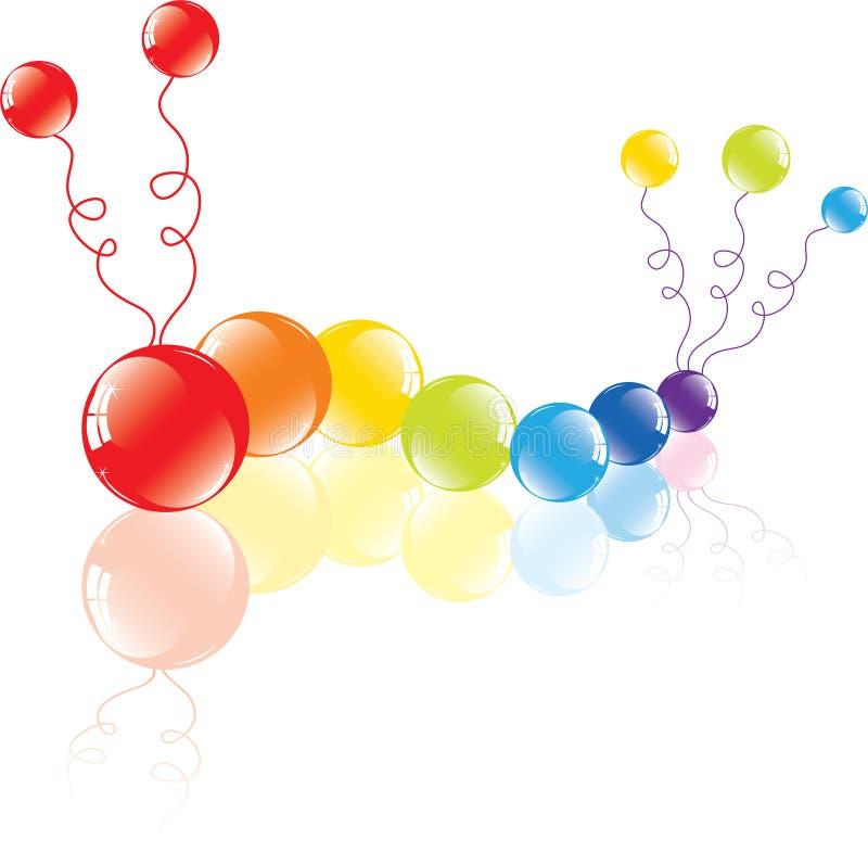 Balões coloridos no assoalho ilustração stock