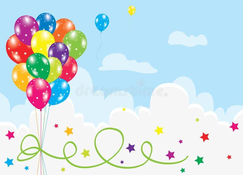 Balões coloridos no céu ilustração royalty free