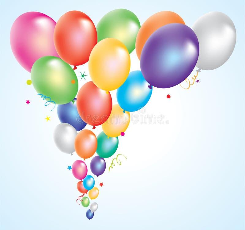 Balões coloridos no céu ilustração stock