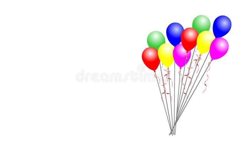 Balões coloridos no fundo branco ilustração royalty free