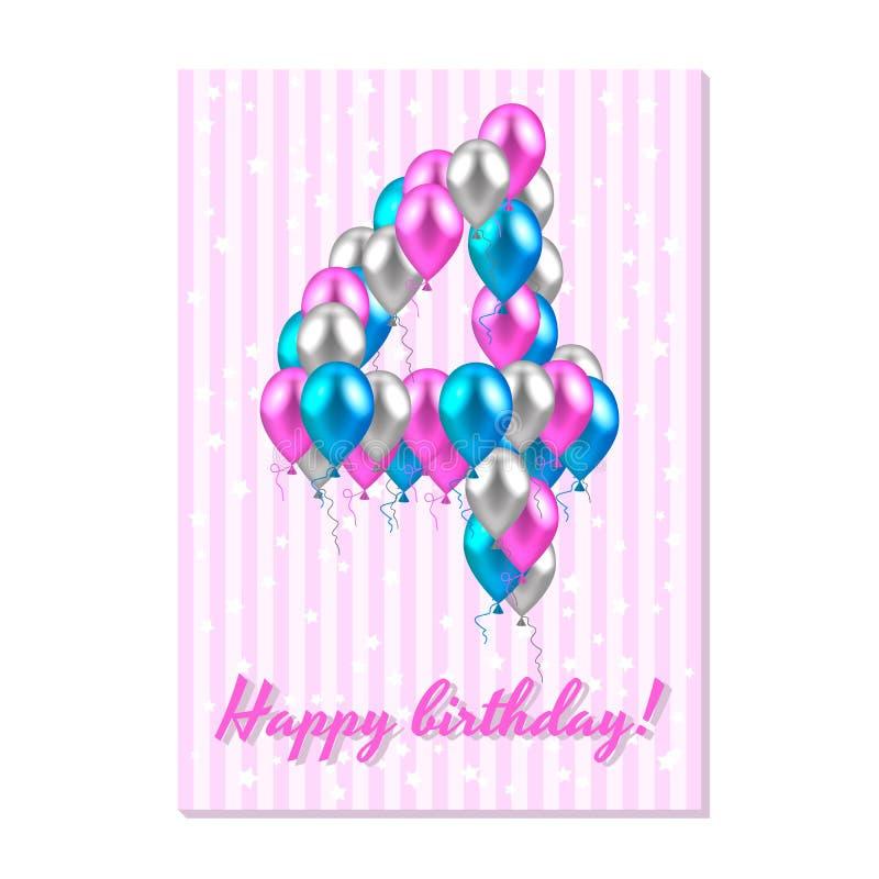 balões coloridos realísticos no quinto aniversário rosa, prata, azul Cartão cor-de-rosa da listra com estrelas brancas ilustração royalty free