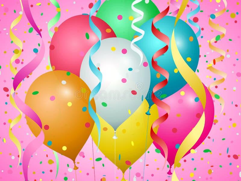 Balões, confetes e flâmulas de cores diferentes ilustração royalty free