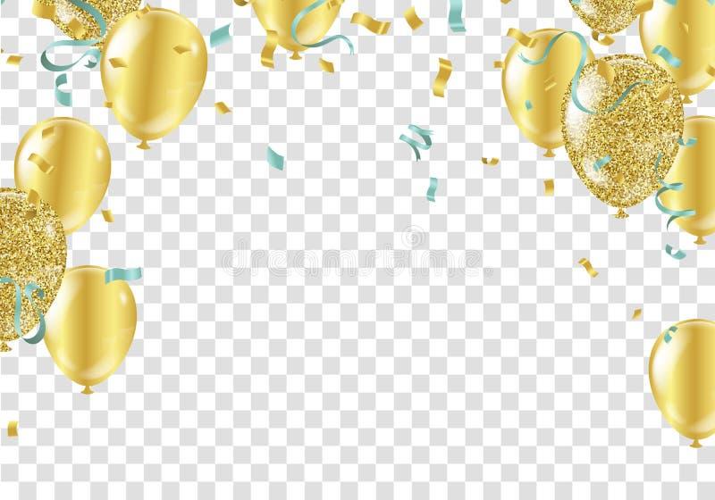Balões, confetes e flâmulas do ouro Ilustração do vetor ilustração stock