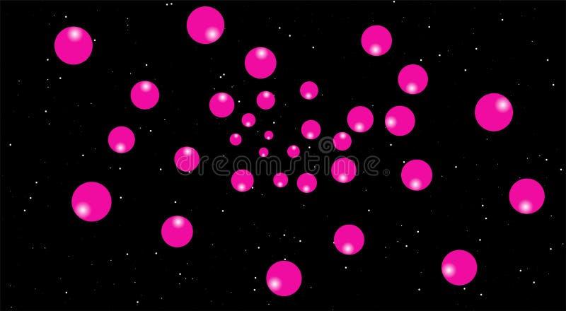 Balões cor-de-rosa em cenas da noite, fundo preto lua cor-de-rosa no céu ilustração do vetor