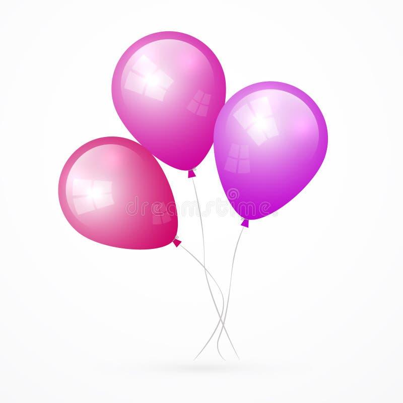 Balões cor-de-rosa, roxos do vetor ilustração royalty free