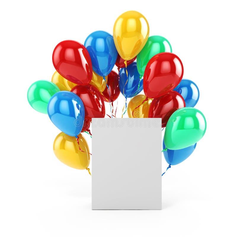 balões 3d e caixa vazia ilustração do vetor
