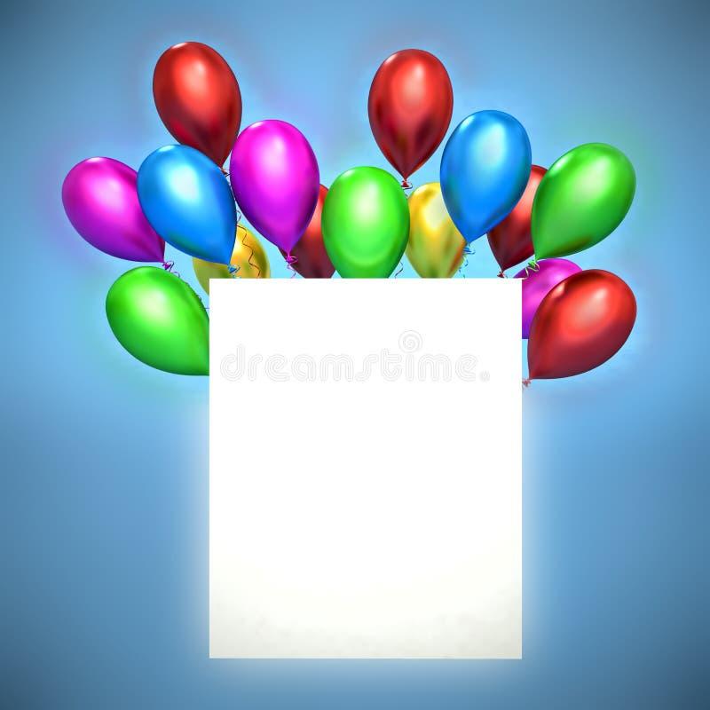 balões 3d e placa branca ilustração do vetor