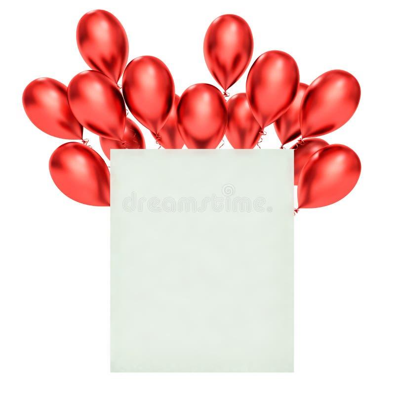 balões 3d vermelhos e placa branca ilustração stock