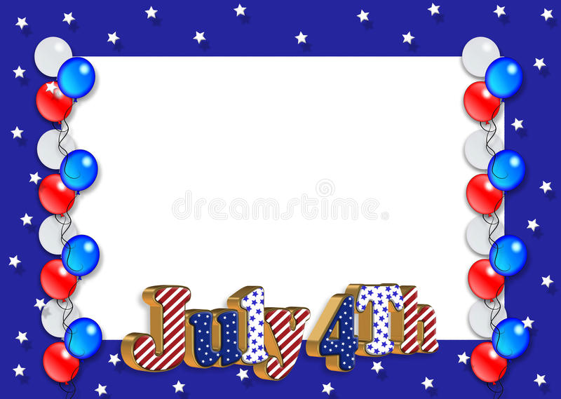 Balões da beira julho de ô ilustração do vetor