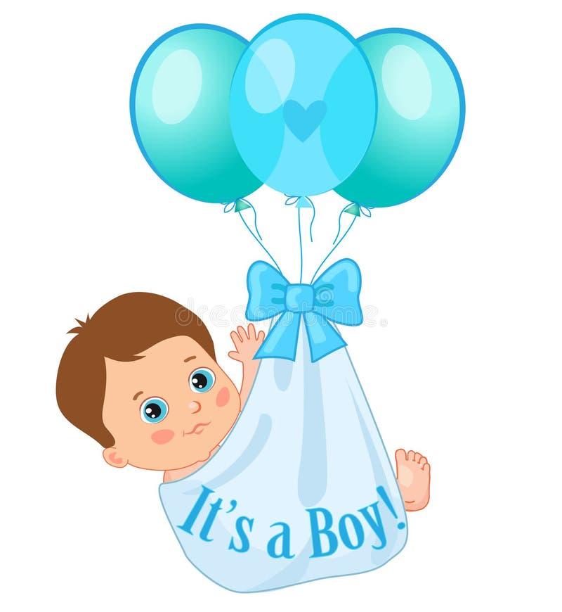 Balões da cor que levam um bebê bonito Ilustração do vetor do bebê ilustração stock