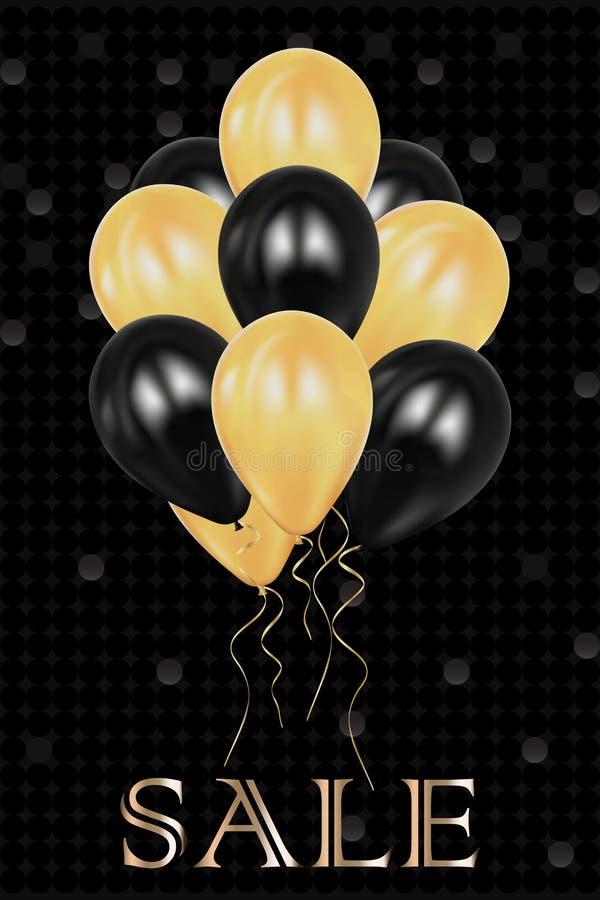 Balões da decoração do Natal celebration Luzes realísticas do chuveirinho isoladas no preto Fogos-de-artifício brilhantes Córrego ilustração do vetor