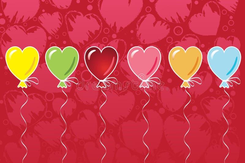 Balões da forma do coração ilustração stock