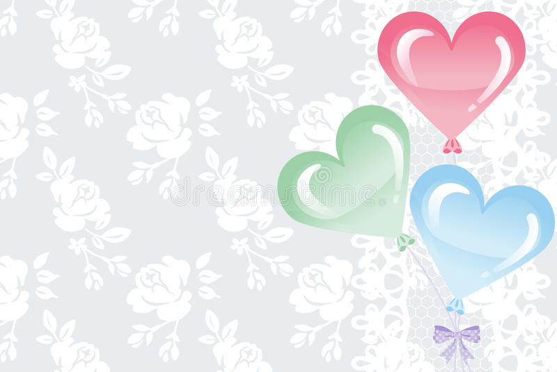 Balões da forma do coração no fundo do laço ilustração royalty free