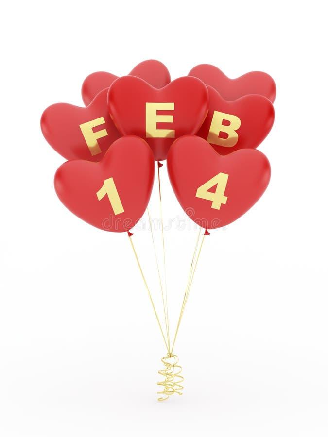 Balões da forma do coração para o dia de Valentim ilustração royalty free