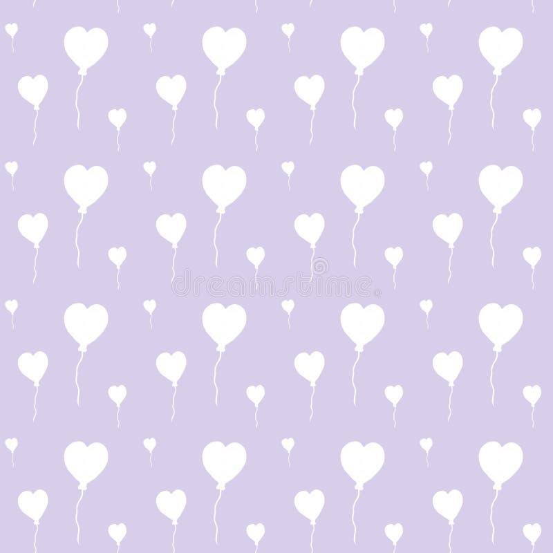 Balões de ar bonitos no formulário dos corações, teste padrão sem emenda da aquarela no fundo do lila Pode ser usado para o cartã ilustração stock