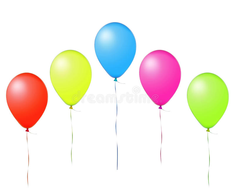 Balões de ar coloridos do voo isolados no branco fotografia de stock royalty free
